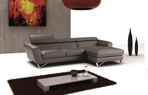 Spectra Mini Gray Italian Leather Sectional Sofa