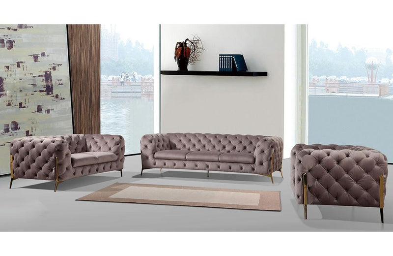 Aubrie Modern Silver Fabric Sofa Set