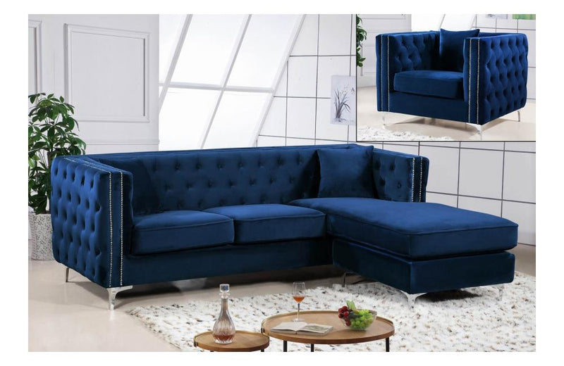 Cady Navy Sectional Sofa