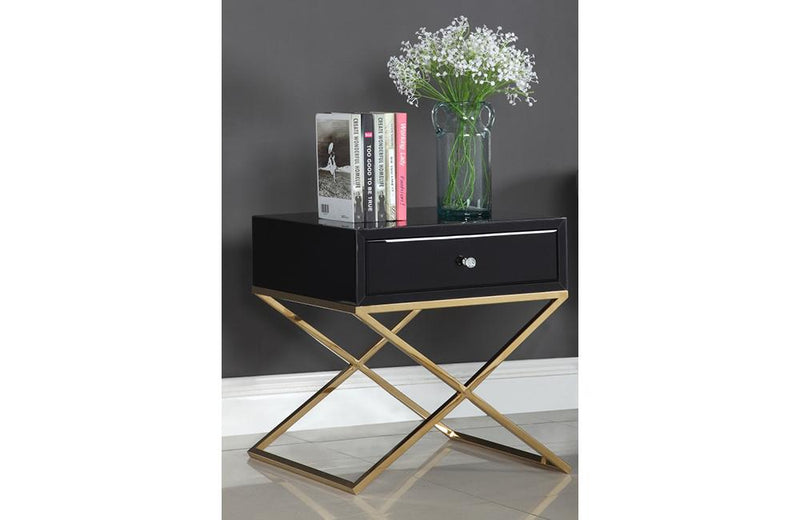 Fabienne Black Gold Nightstand