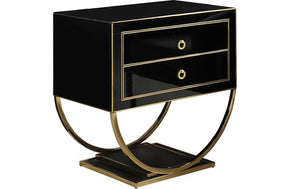Fabianne Black Gold Nightstand