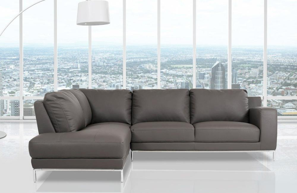 Johnny Modern Black Eco-Leather Sectional Sofa