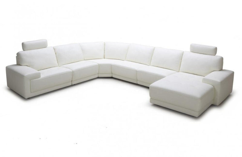 Dean Modern White Eco-Leather Sectional Sofa with Headrests