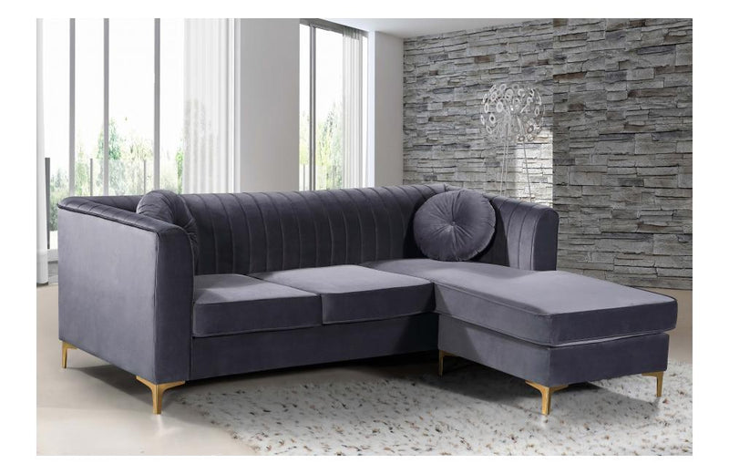 Elvina Grey Gold Sectional Sofa