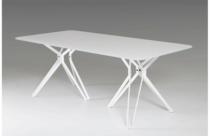 Harmony Modern White Glass Dining Table