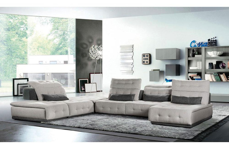 Daiquiri Italian Modern Light Gray & Dark Gray Fabric Modular Sectional Sofa