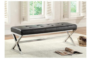 Lucy Black Bonded Leather Bench