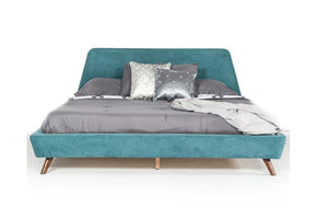 Lewis Mid-Century Modern Teal & Walnut Bed