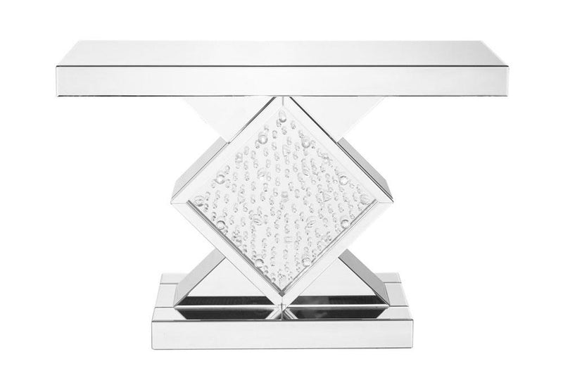 Rectangle Crystal Console Table in Clear Mirror Finish
