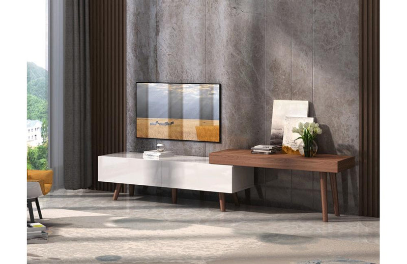 Noelle Modern White & Walnut TV Stand