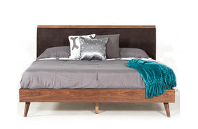 Marshall Mid-Century Modern Brown Fabric & Walnut Bed