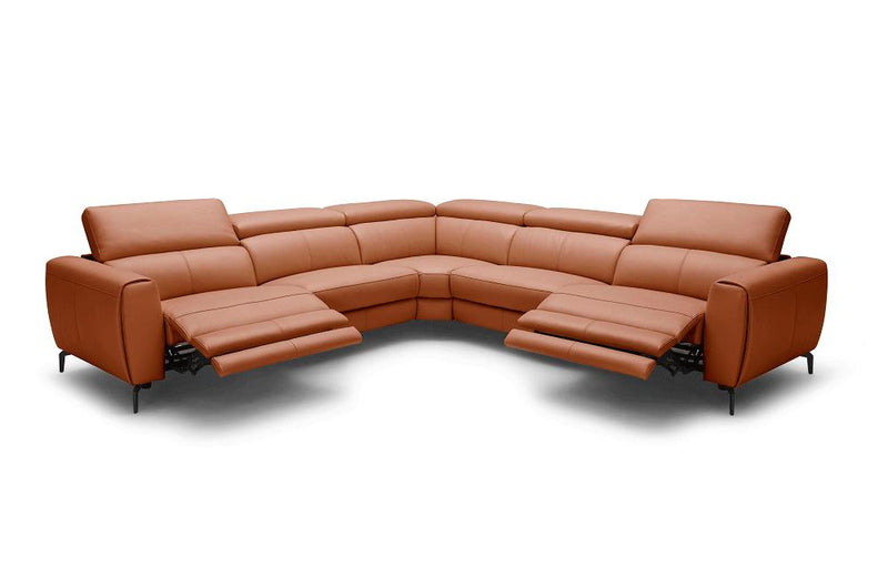 Scuzzo Orange Reclining Leather Sectional Sofa