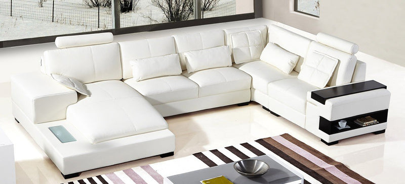 Felix Modern Bonded White Leather Sectional Sofa