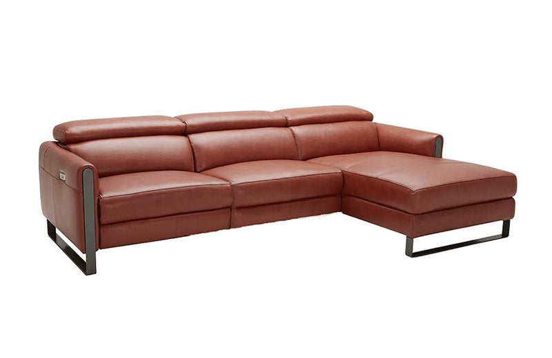 Alanzo Orange Reclining Leather Sectional Sofa