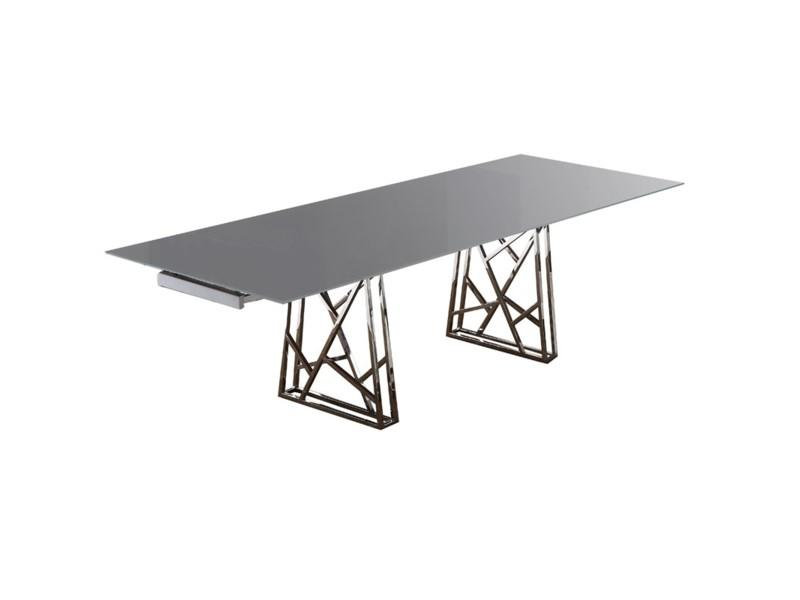 Borg Dining Table Gray Glass Top