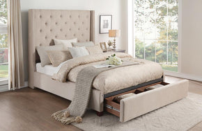 Zenna Beige Storage Bed