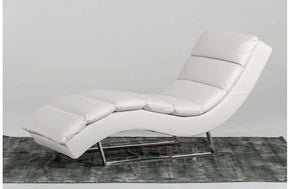 Trance Modern Leatherette Chaise White