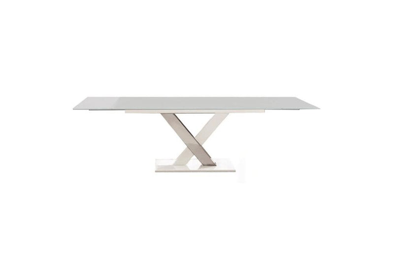 Cyrus Dining Table Gray Glass Top