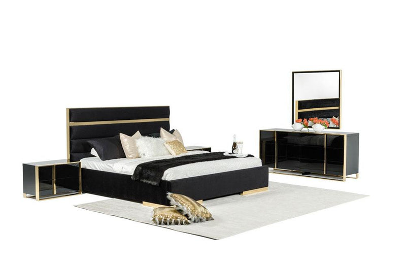 Montblanc Modern Black & Gold Bedroom Set