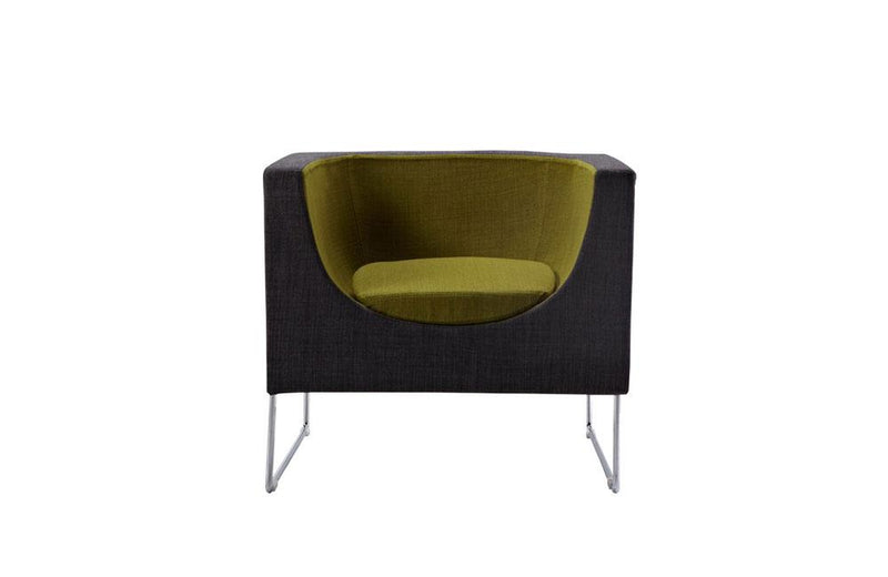 Tulane Contemporary Gray & Green Accent Chair