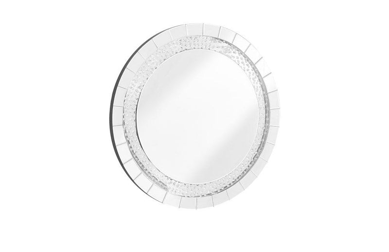 Contemporary Crystal Mirror in Clear Round