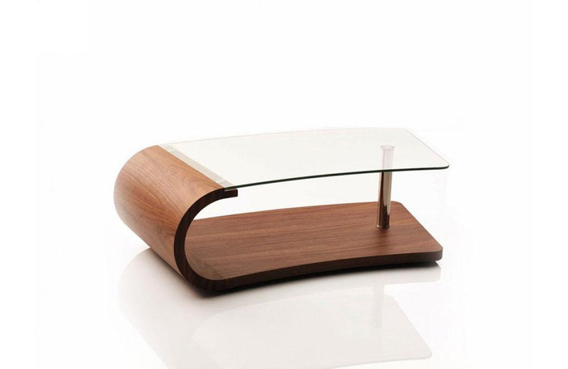 Wren Modern Walnut and Glass Coffee Table