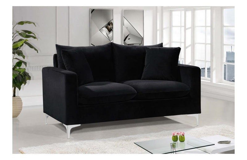 Dottie Chrome Black Love Seat