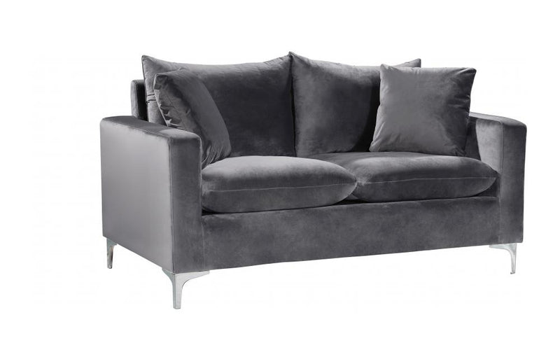 Dottie Chrome Grey Love Seat