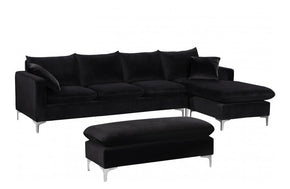 Lorinda Chrome Black Sectional Sofa