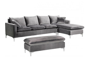 Lorinda Chrome Grey Sectional Sofa