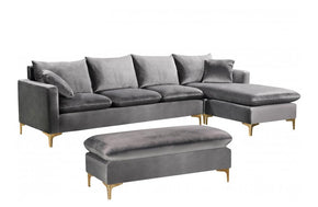 Lorinda Gold Grey Sectional Sofa