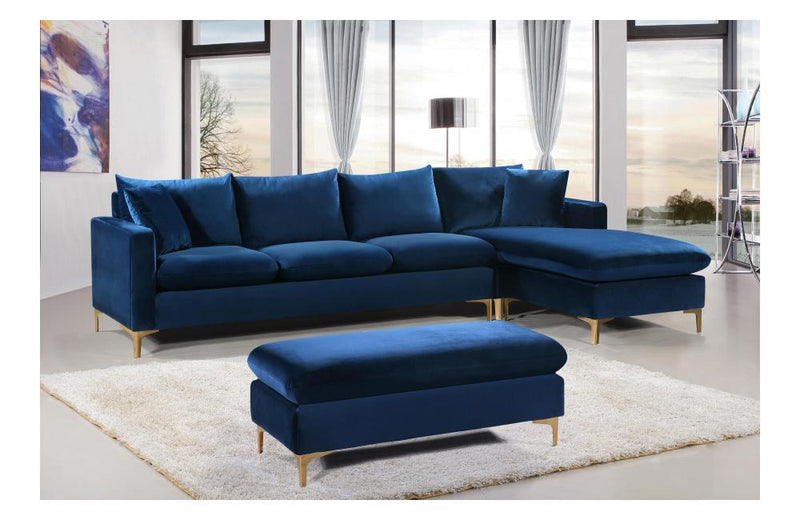 Lorinda Gold Navy Sectional Sofa