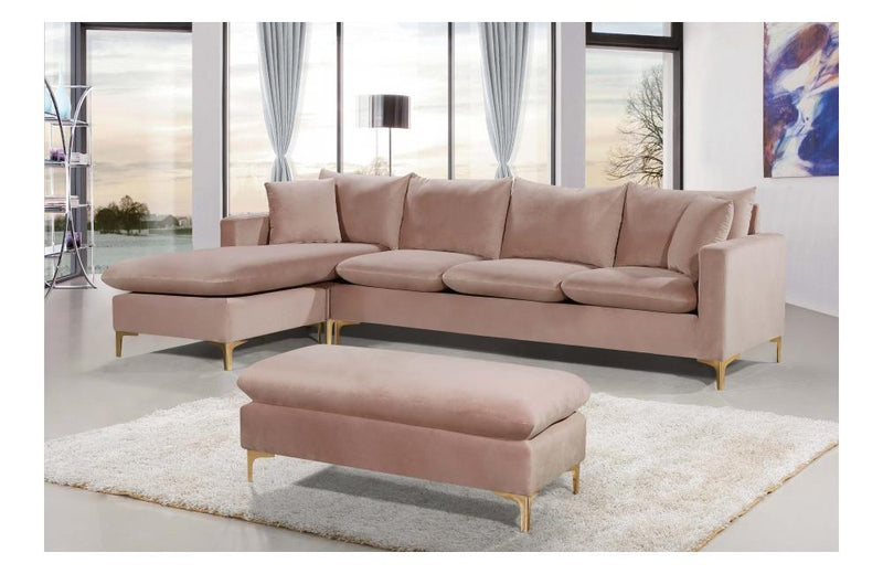 Lorinda Gold Pink Sectional Sofa