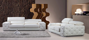 Rowan Modern Tufted Leather Sofa Set with Headrests and Crystals