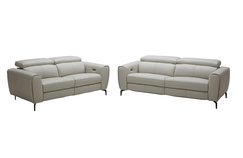 Scuzzo Light Gray Reclining Leather Loveseat