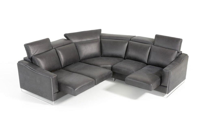 Ethan Modern Black Leather Sectional Sofa