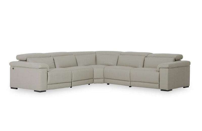 Palinuro Modern Gray Leather Sectional Sofa