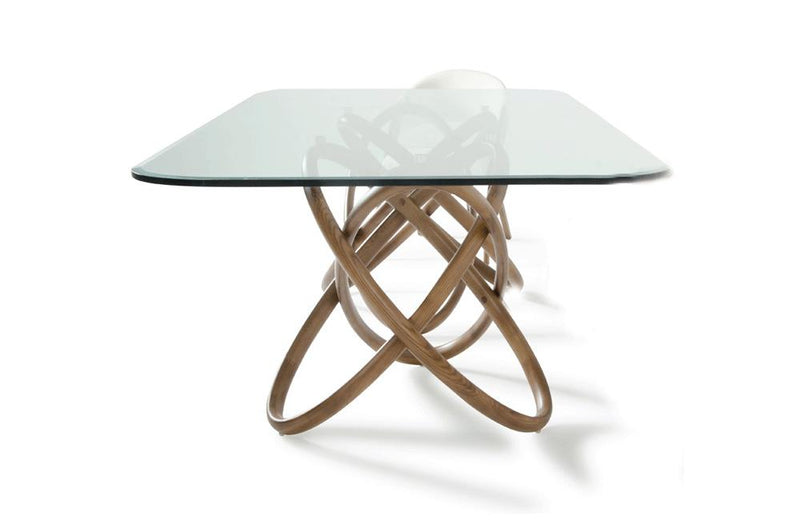 Mason Modern Glass & Walnut Dining Table