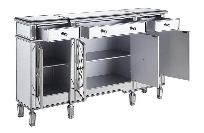 Modern 3 Drawer 4 Door Console Silver