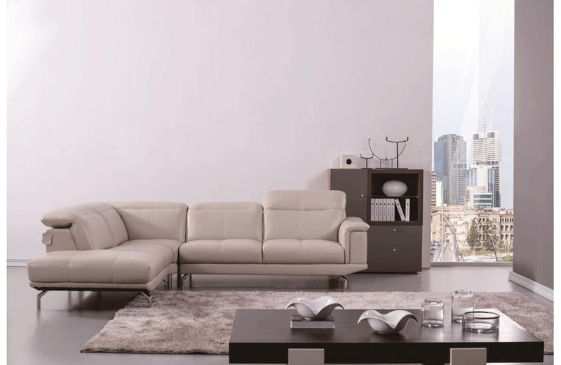 Fabio Beige Leather Sectional Sofa
