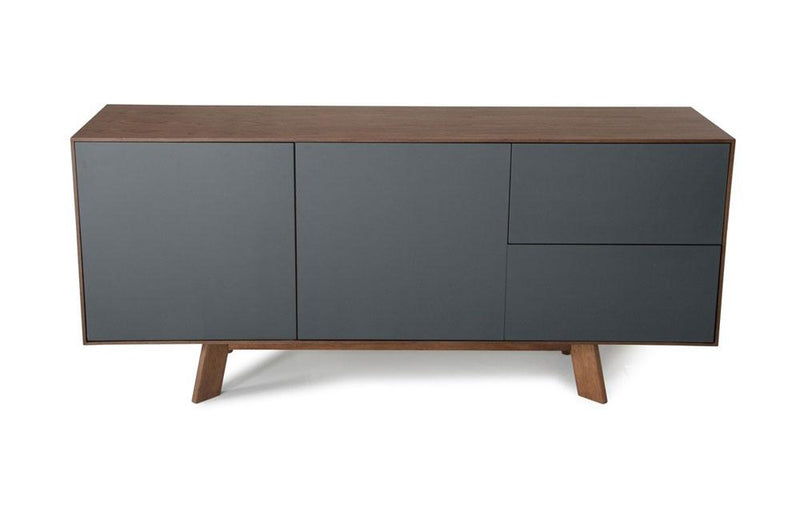 Weylyn Modern Charcoal Gray & Walnut Buffet