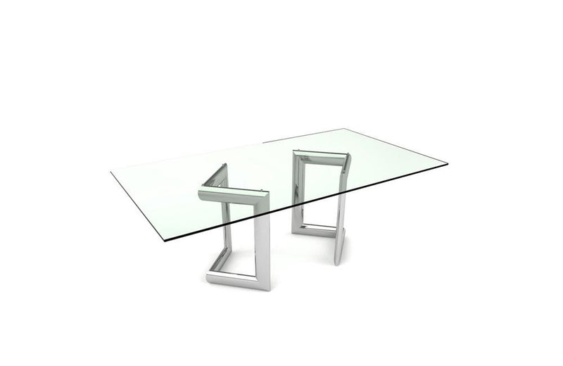 Clara Dining Table Rectangle Base Clear Glass