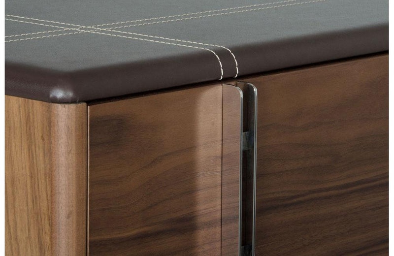 Ria Contemporary Brown Eco-Leather & Walnut Nightstand