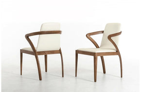 Falcon Modern Walnut and Cream Dining Chair