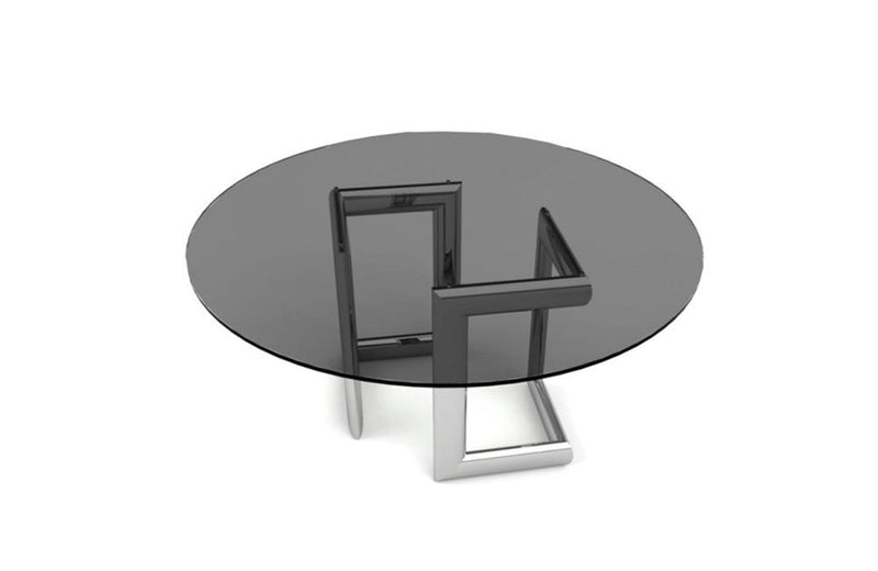 Clara Dining Table Round Base Smoke Glass