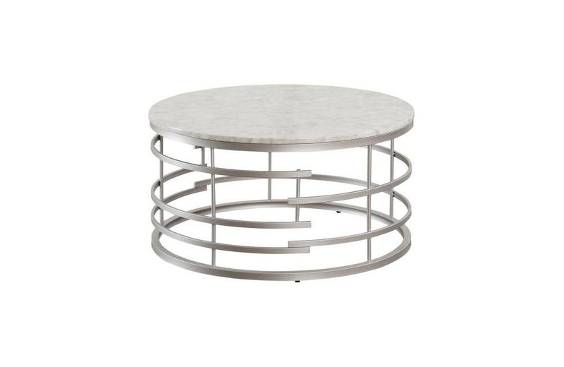 Noble Silver Round Cocktail Table with Faux Marble Top