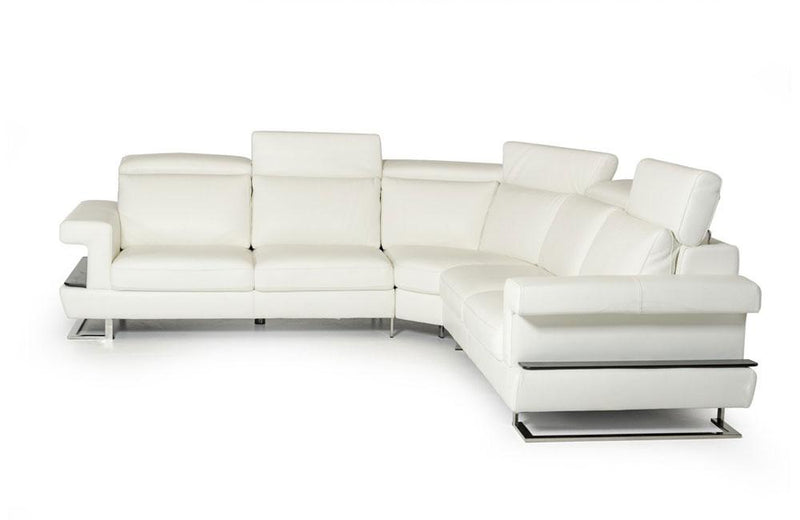 Crosby Modern White Italian Leather Sectional Sofa