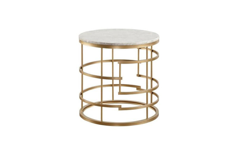 Noble Gold Round End Table with Faux Marble Top