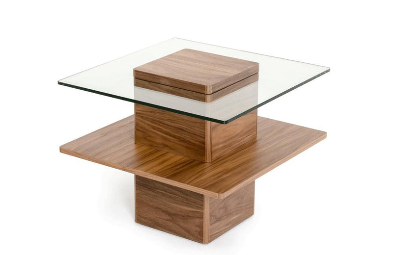 Clarion Modern Walnut and Glass End Table