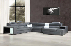 Madilyn Contemporary Bonded Leather Sectional Sofa with Lights